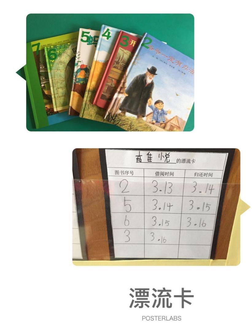了绘本带到幼儿园,我们将这些绘本进行了编号,设计了孩子读书漂流卡